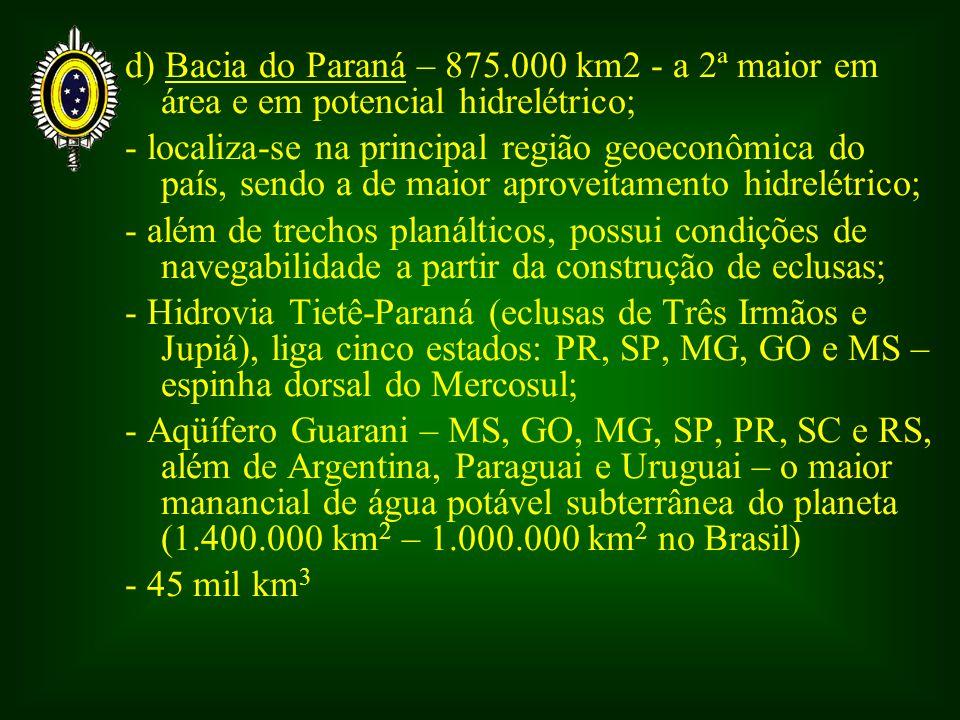 d) Bacia do Paraná – 875.000 km2 - a 2ª maior em área e em potencial hidrelétrico; - localiza-se na principal região geoeconômica do país, sendo a de