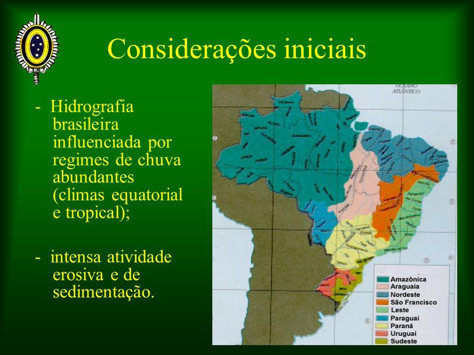 Considerações iniciais - Hidrografia brasileira influenciada por regimes de chuva abundantes (climas equatorial e tropical); - intensa atividade erosi