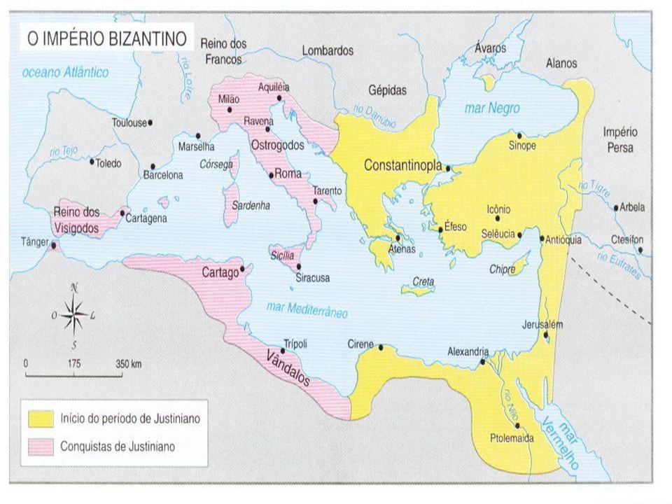 O GOVERNO DE JUSTINIANO (527-565): O mais famoso Imperador do Império Bizantino foi Justiniano, que subiu ao trono em 527 d.C., após a morte de seu pai, Justino I.