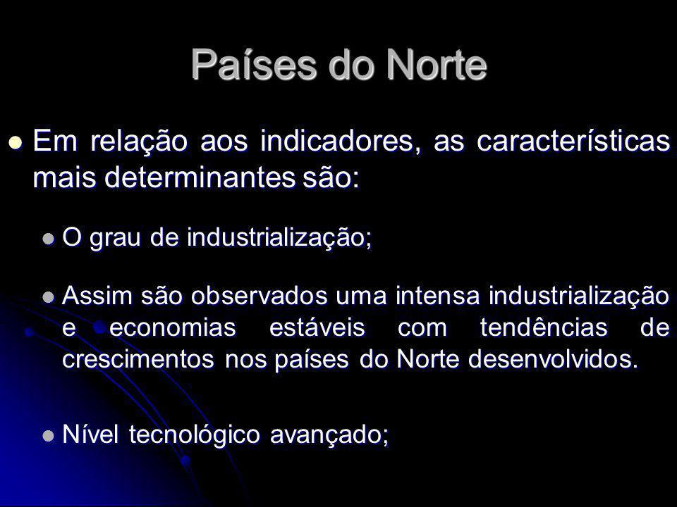 Países do Norte Em relação aos indicadores, as características mais determinantes são: Em relação aos indicadores, as características mais determinant