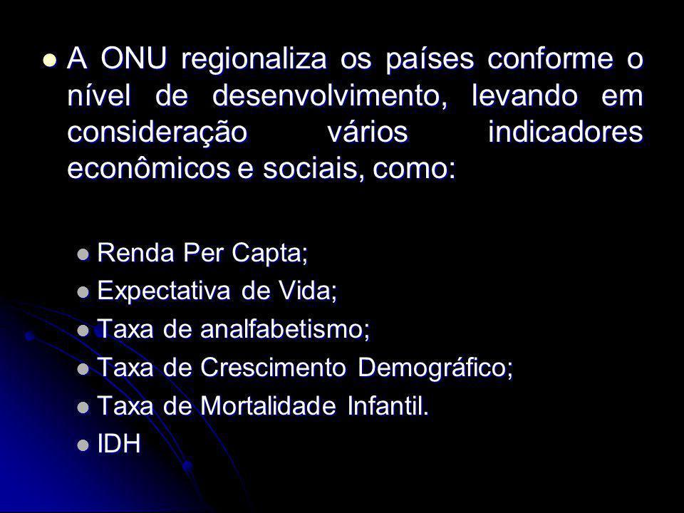 A ONU regionaliza os países conforme o nível de desenvolvimento, levando em consideração vários indicadores econômicos e sociais, como: A ONU regional