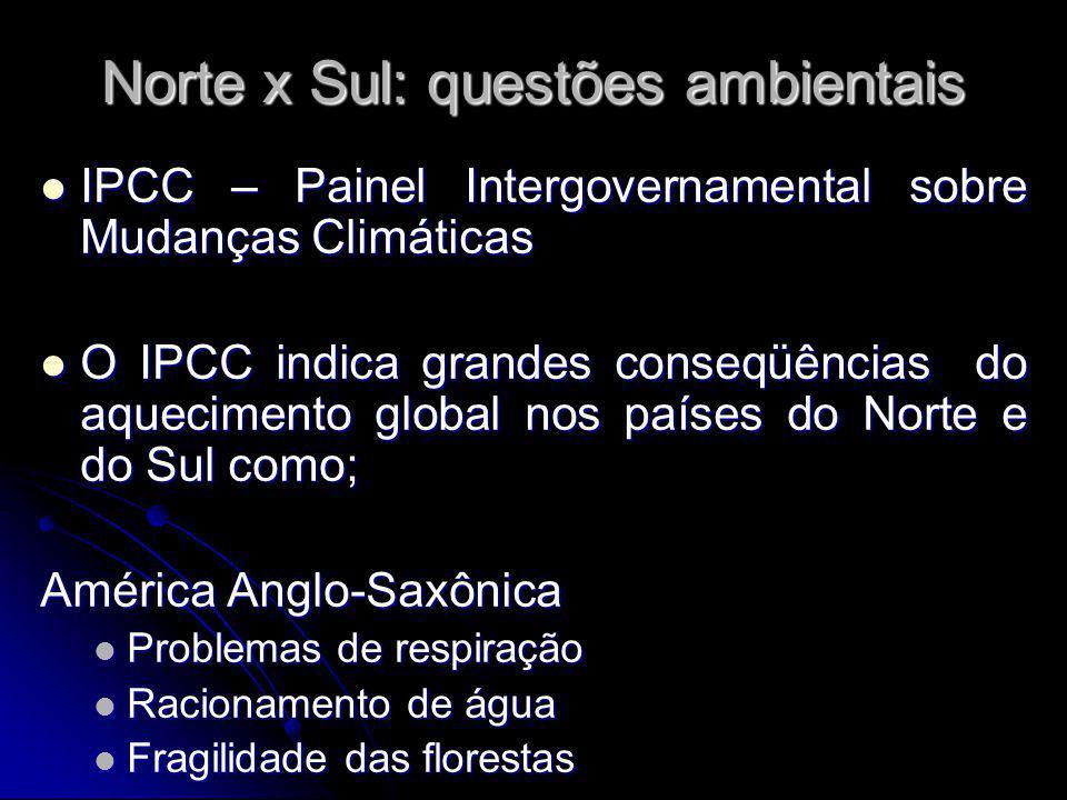 Norte x Sul: questões ambientais IPCC – Painel Intergovernamental sobre Mudanças Climáticas IPCC – Painel Intergovernamental sobre Mudanças Climáticas