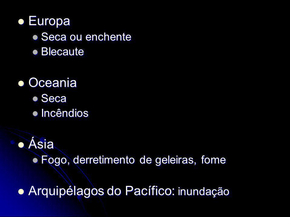 Europa Europa Seca ou enchente Seca ou enchente Blecaute Blecaute Oceania Oceania Seca Seca Incêndios Incêndios Ásia Ásia Fogo, derretimento de geleir