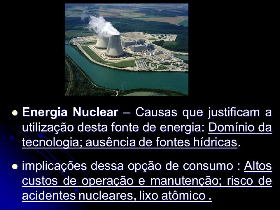 Energia Nuclear – Causas que justificam a utilização desta fonte de energia: Domínio da tecnologia; ausência de fontes hídricas. Energia Nuclear – Cau