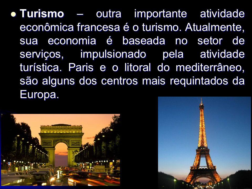 Turismo – outra importante atividade econômica francesa é o turismo. Atualmente, sua economia é baseada no setor de serviços, impulsionado pela ativid