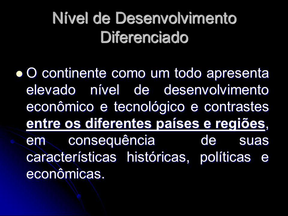 Nível de Desenvolvimento Diferenciado O continente como um todo apresenta elevado nível de desenvolvimento econômico e tecnológico e contrastes entre