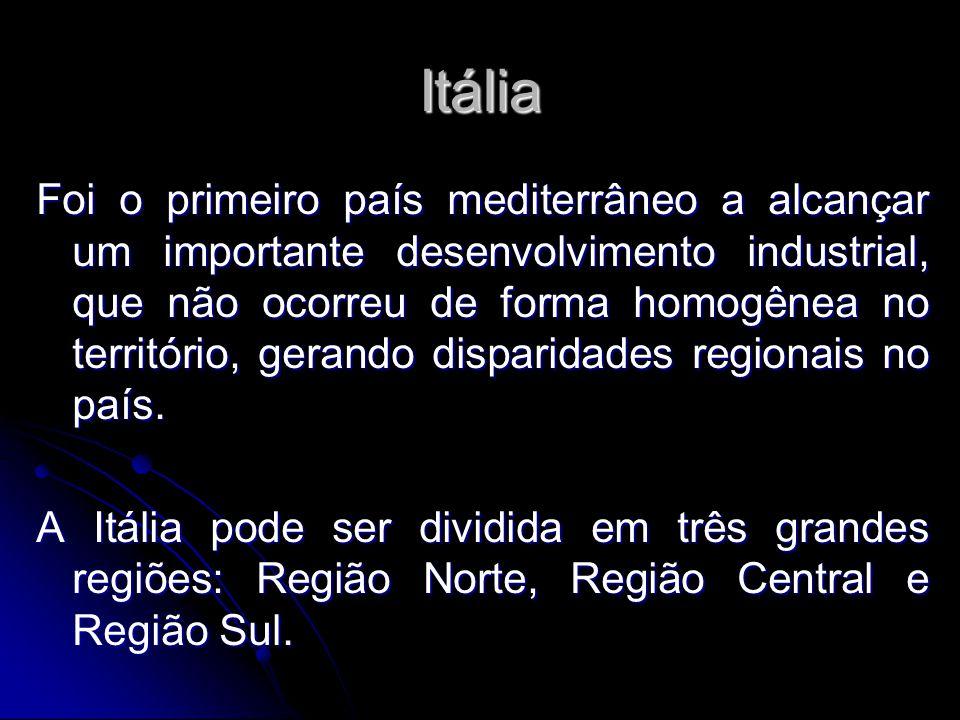 Itália Foi o primeiro país mediterrâneo a alcançar um importante desenvolvimento industrial, que não ocorreu de forma homogênea no território, gerando