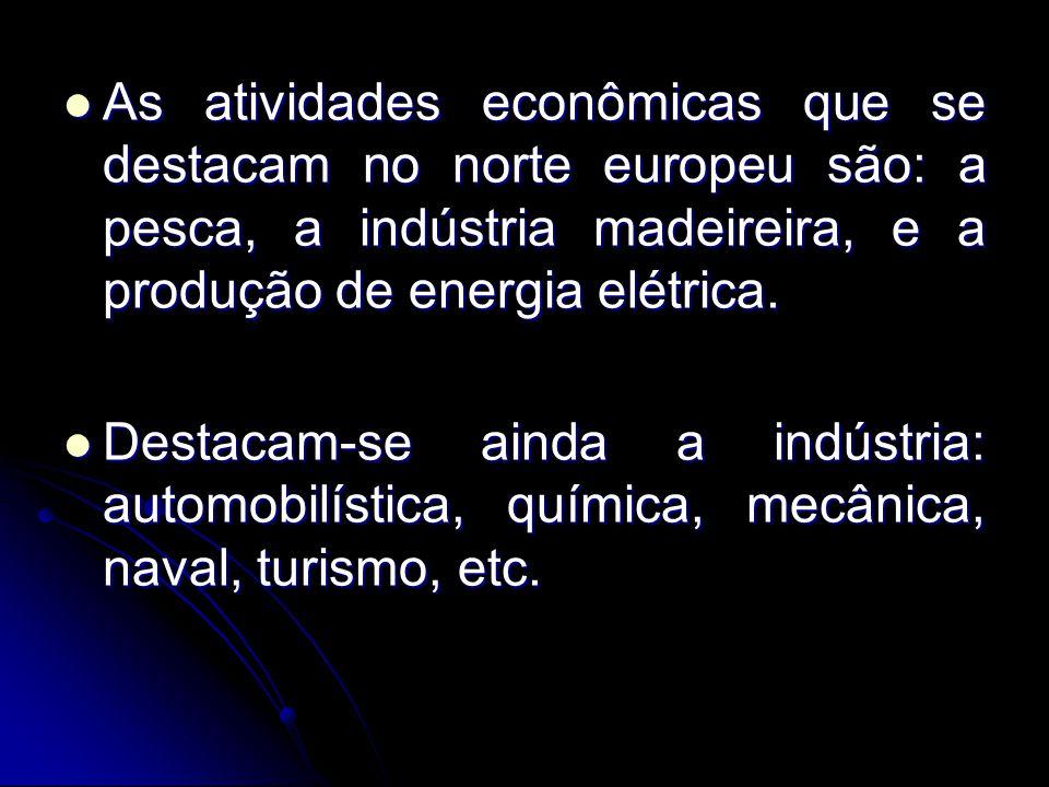 As atividades econômicas que se destacam no norte europeu são: a pesca, a indústria madeireira, e a produção de energia elétrica. As atividades econôm