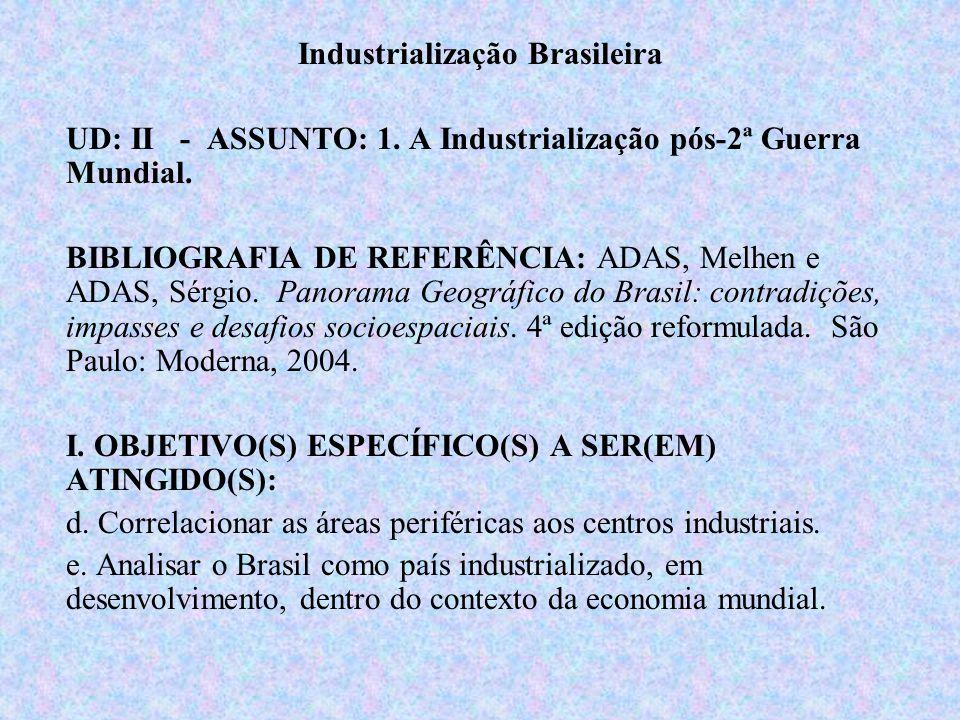 Brasil: terceira revolução industrial pós 2ª GM – Guerra Fria – grandes avanços (científicos/tecnológicos); Brasil - fatores dificultadores/impeditivos: –dívidas; desvio de capitais; concorrência tecnológica; –mau uso de capitais – desenv.
