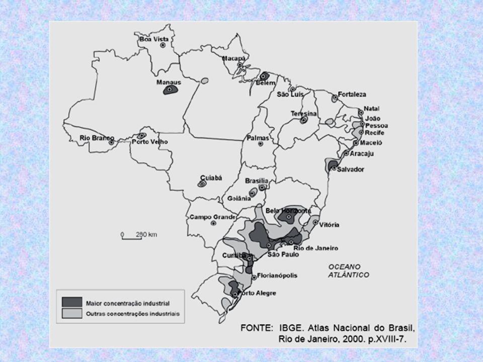 grandes concentrações industriais: Sudeste São Paulo, Rio de Janeiro, Belo Horizonte - aproveitamento de fatores positivos – pcp São Paulo; –centro da economia capitalista brasileira; –propagação concêntrica; –aprofundamento de desigualdades regionais e nacionais.