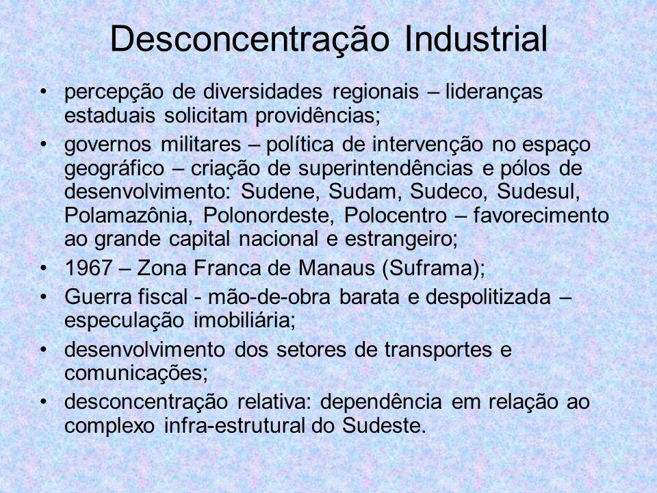 Desconcentração Industrial percepção de diversidades regionais – lideranças estaduais solicitam providências; governos militares – política de interve