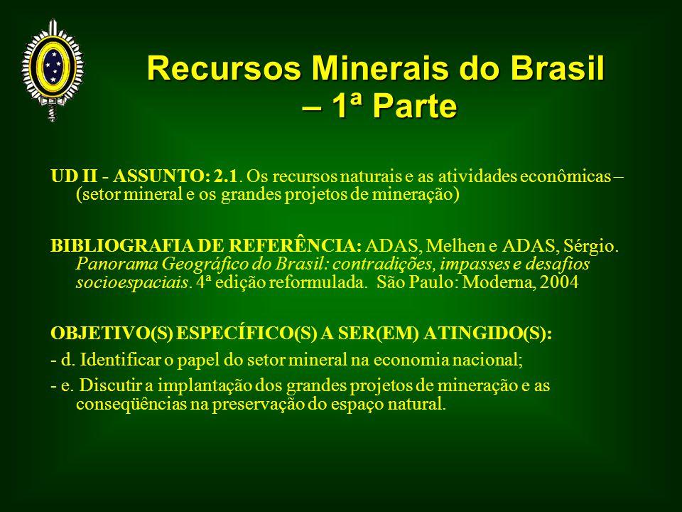 Principais Jazimentos Minerais Brasileiros -Minerais metálicos – associados aos escudos cristalinos – rochas magmáticas -Combustíveis fósseis – associados às bacias sedimentares – rochas sedimentares