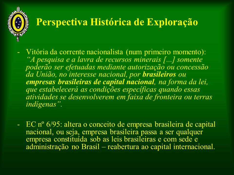 Perspectiva Histórica de Exploração -Vitória da corrente nacionalista (num primeiro momento): A pesquisa e a lavra de recursos minerais [...] somente