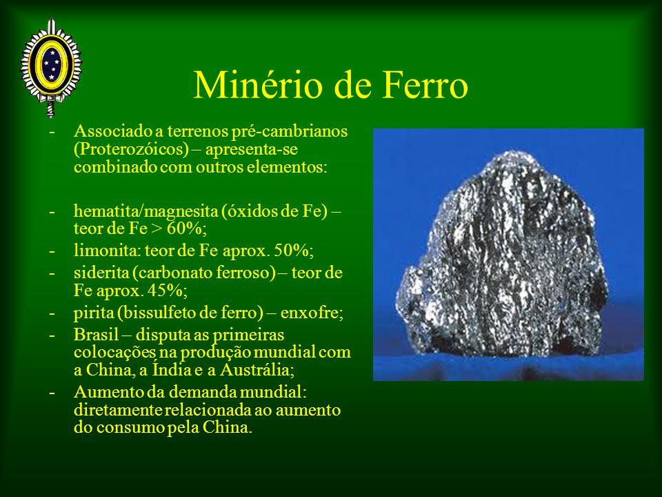 Minério de Ferro -Associado a terrenos pré-cambrianos (Proterozóicos) – apresenta-se combinado com outros elementos: -hematita/magnesita (óxidos de Fe