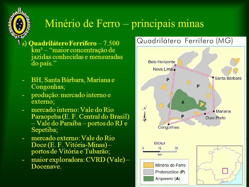 Minério de Ferro – principais minas a ) Quadrilátero Ferrífero – 7.500 km² – maior concentração de jazidas conhecidas e mensuradas do país. - BH, Sant