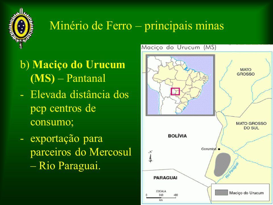 Minério de Ferro – principais minas b) Maciço do Urucum (MS) – Pantanal -Elevada distância dos pcp centros de consumo; -exportação para parceiros do M