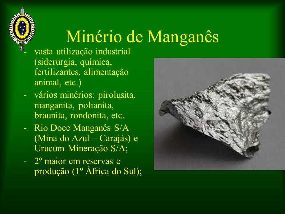Minério de Manganês -vasta utilização industrial (siderurgia, química, fertilizantes, alimentação animal, etc.) -vários minérios: pirolusita, manganit