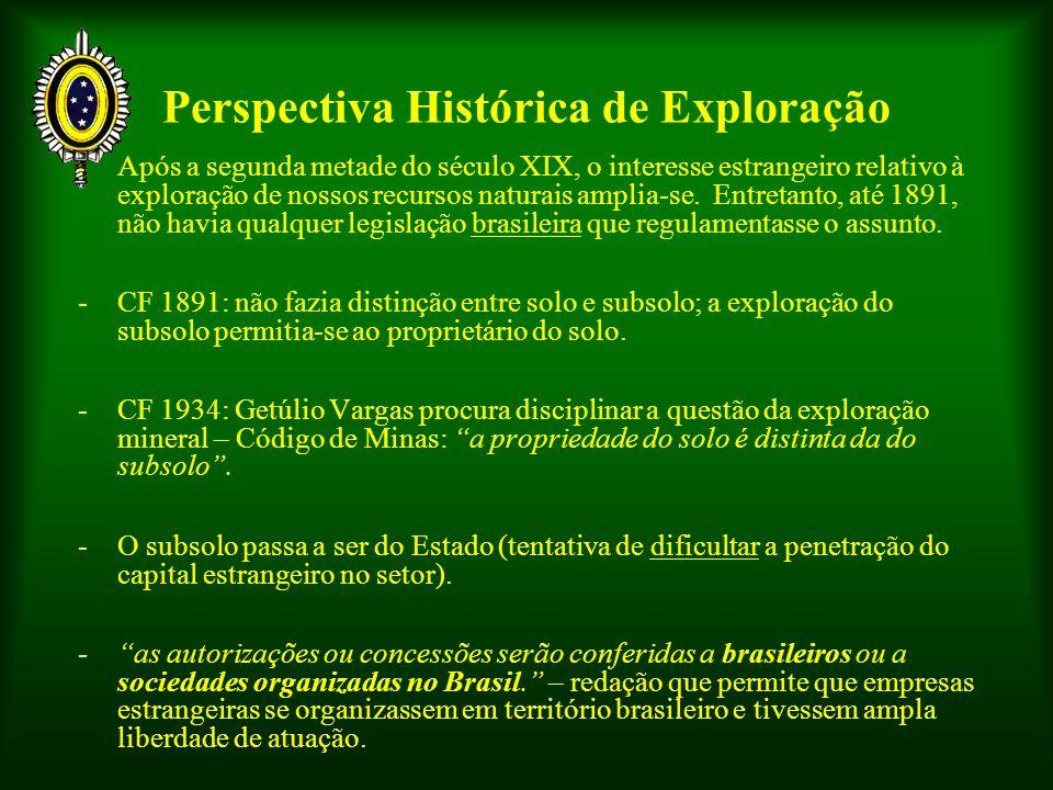 Perspectiva Histórica de Exploração - Após a segunda metade do século XIX, o interesse estrangeiro relativo à exploração de nossos recursos naturais a