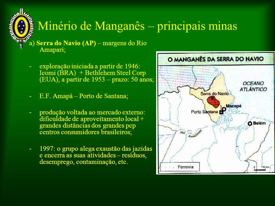 Minério de Manganês – principais minas a) Serra do Navio (AP) – margens do Rio Amapari; -exploração iniciada a partir de 1946: Icomi (BRA) + Bethlehem