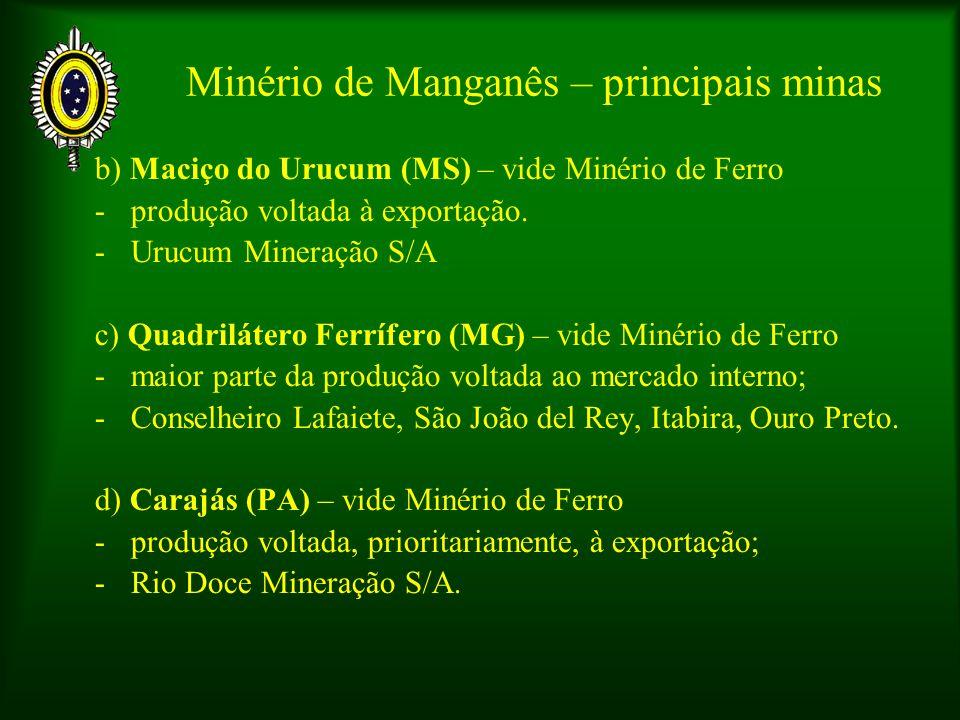 Minério de Manganês – principais minas b) Maciço do Urucum (MS) – vide Minério de Ferro -produção voltada à exportação. -Urucum Mineração S/A c) Quadr