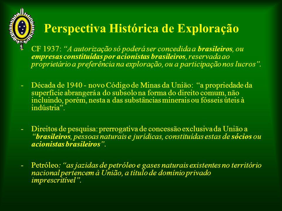 Perspectiva Histórica de Exploração -CF 1937: A autorização só poderá ser concedida a brasileiros, ou empresas constituídas por acionistas brasileiros