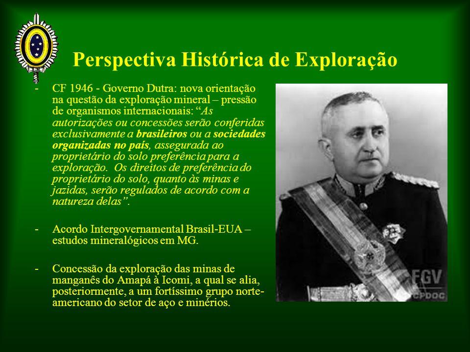Perspectiva Histórica de Exploração -CF 1946 - Governo Dutra: nova orientação na questão da exploração mineral – pressão de organismos internacionais: