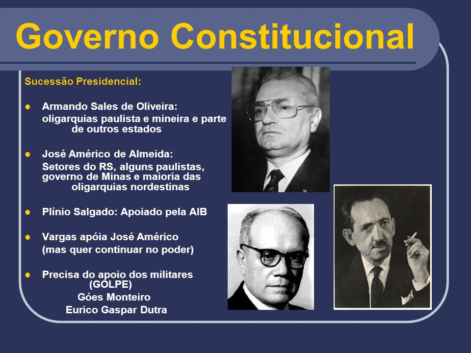 Governo Constitucional Sucessão Presidencial: Armando Sales de Oliveira: oligarquias paulista e mineira e parte de outros estados José Américo de Alme