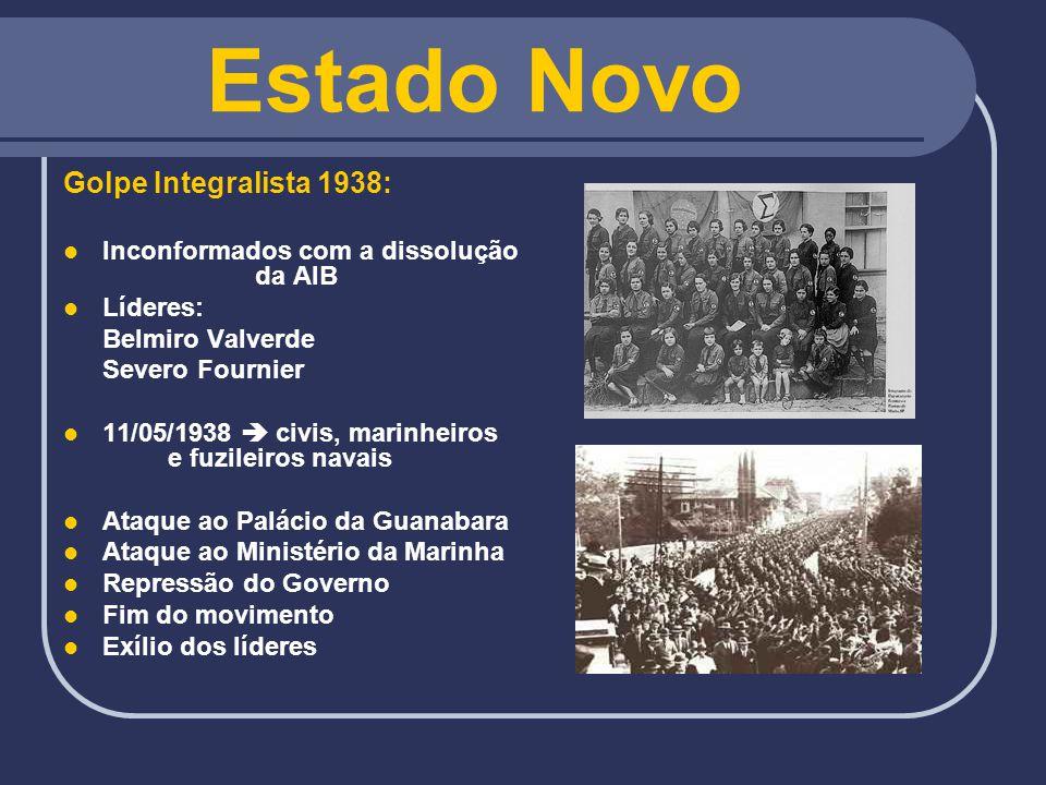 Estado Novo Golpe Integralista 1938: Inconformados com a dissolução da AIB Líderes: Belmiro Valverde Severo Fournier 11/05/1938 civis, marinheiros e f