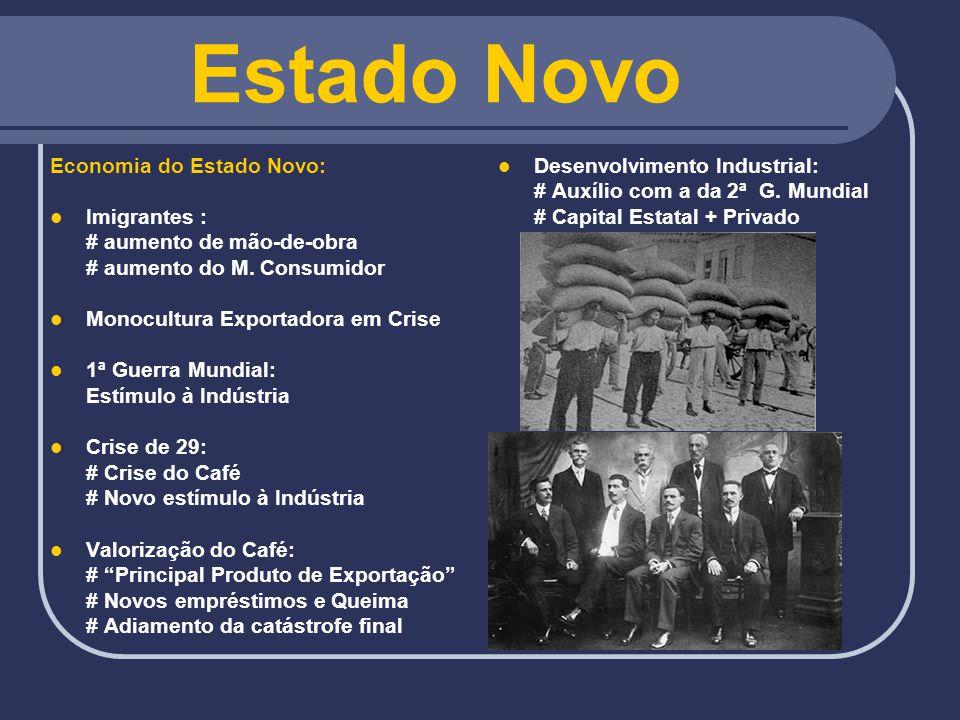 Estado Novo Economia do Estado Novo: Imigrantes : # aumento de mão-de-obra # aumento do M. Consumidor Monocultura Exportadora em Crise 1ª Guerra Mundi