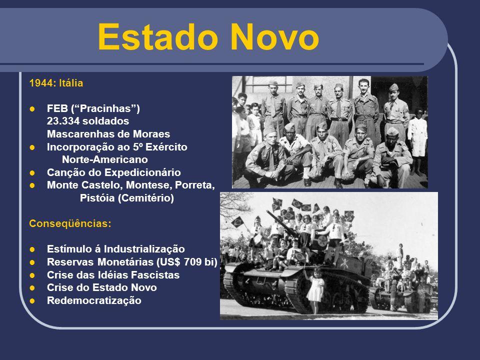Estado Novo 1944: Itália FEB (Pracinhas) 23.334 soldados Mascarenhas de Moraes Incorporação ao 5º Exército Norte-Americano Canção do Expedicionário Mo