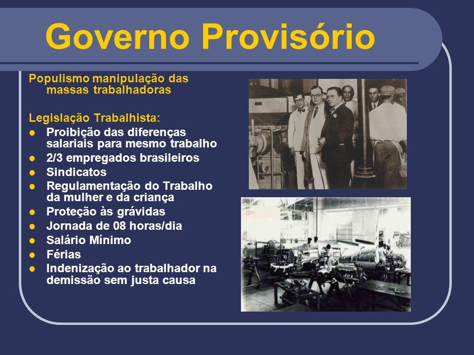 Governo Provisório Revolução Constitucionalista (1932) Causas: Marginalização política da Oligarquia Paulista Dificuldades econômicas Descontentamento do P.D.