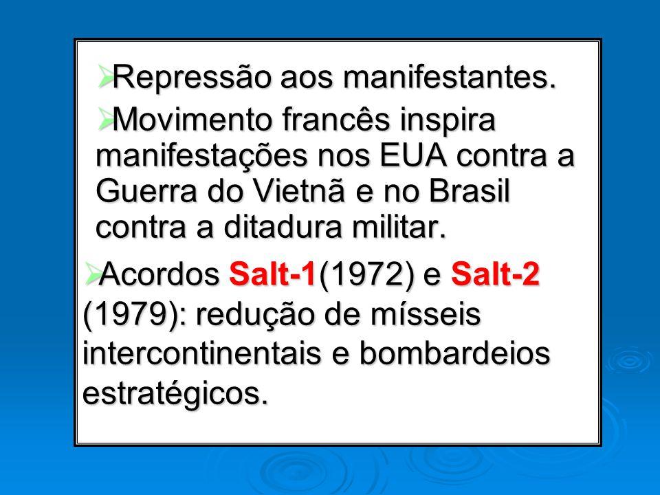 Repressão aos manifestantes. Repressão aos manifestantes. Movimento francês inspira manifestações nos EUA contra a Guerra do Vietnã e no Brasil contra
