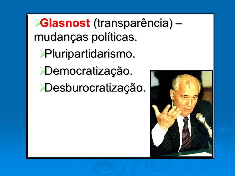 Glasnost (transparência) – mudanças políticas. Glasnost (transparência) – mudanças políticas. Pluripartidarismo. Pluripartidarismo. Democratização. De