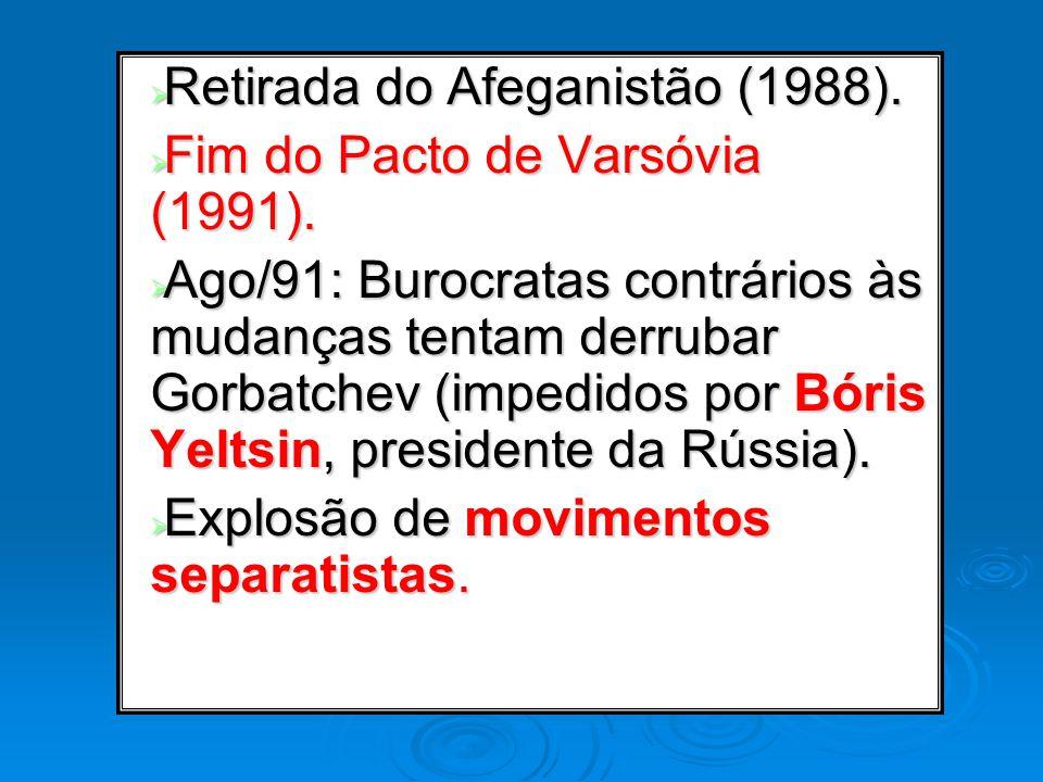Retirada do Afeganistão (1988). Retirada do Afeganistão (1988). Fim do Pacto de Varsóvia (1991). Fim do Pacto de Varsóvia (1991). Ago/91: Burocratas c