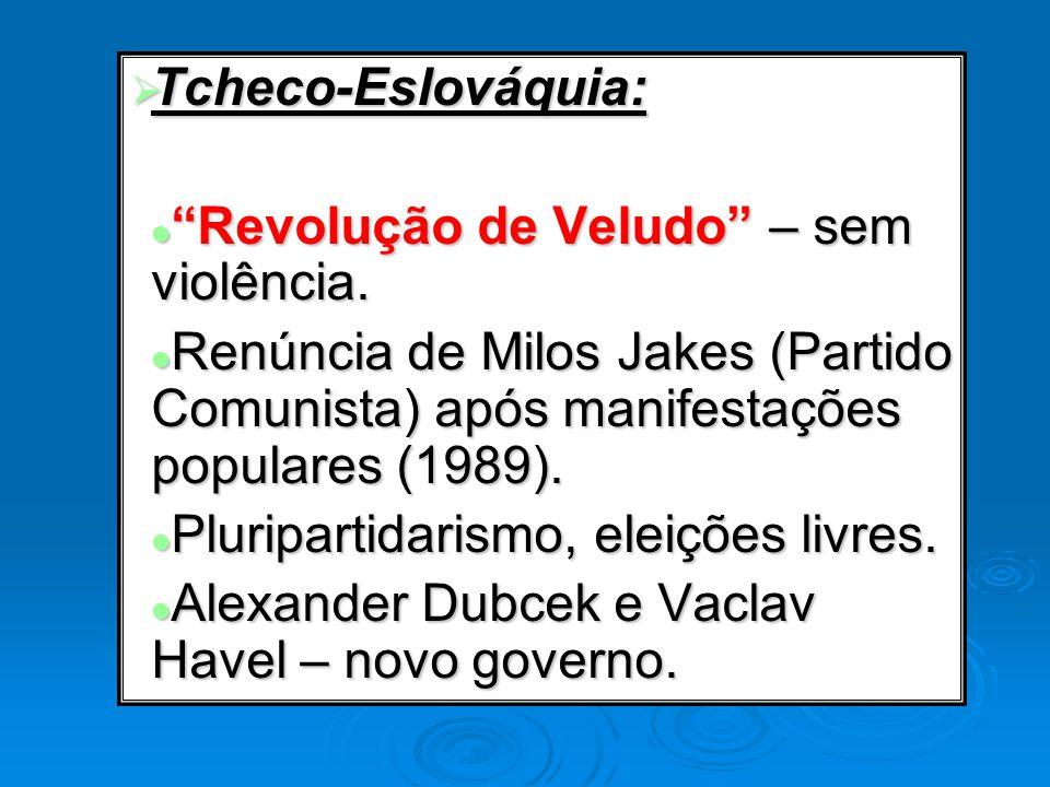 Tcheco-Eslováquia: Tcheco-Eslováquia: Revolução de Veludo – sem violência. Revolução de Veludo – sem violência. Renúncia de Milos Jakes (Partido Comun