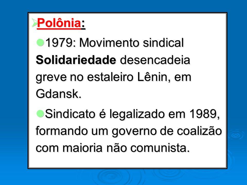 Polônia: Polônia: 1979: Movimento sindical Solidariedade desencadeia greve no estaleiro Lênin, em Gdansk. 1979: Movimento sindical Solidariedade desen
