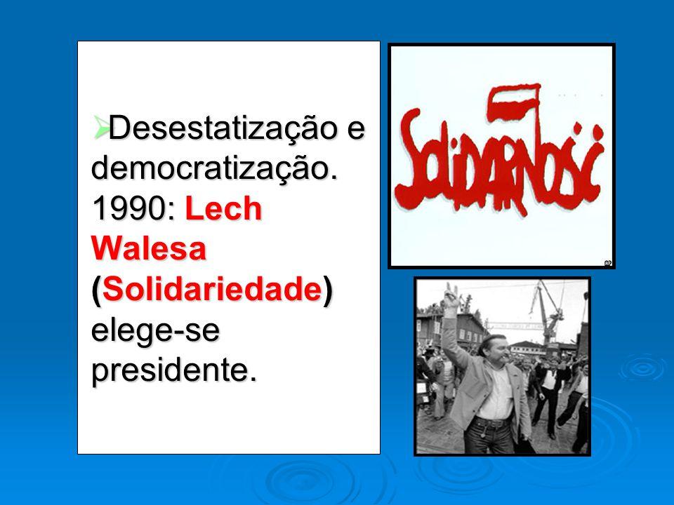 Desestatização e democratização. 1990: Lech Walesa (Solidariedade) elege-se presidente. Desestatização e democratização. 1990: Lech Walesa (Solidaried