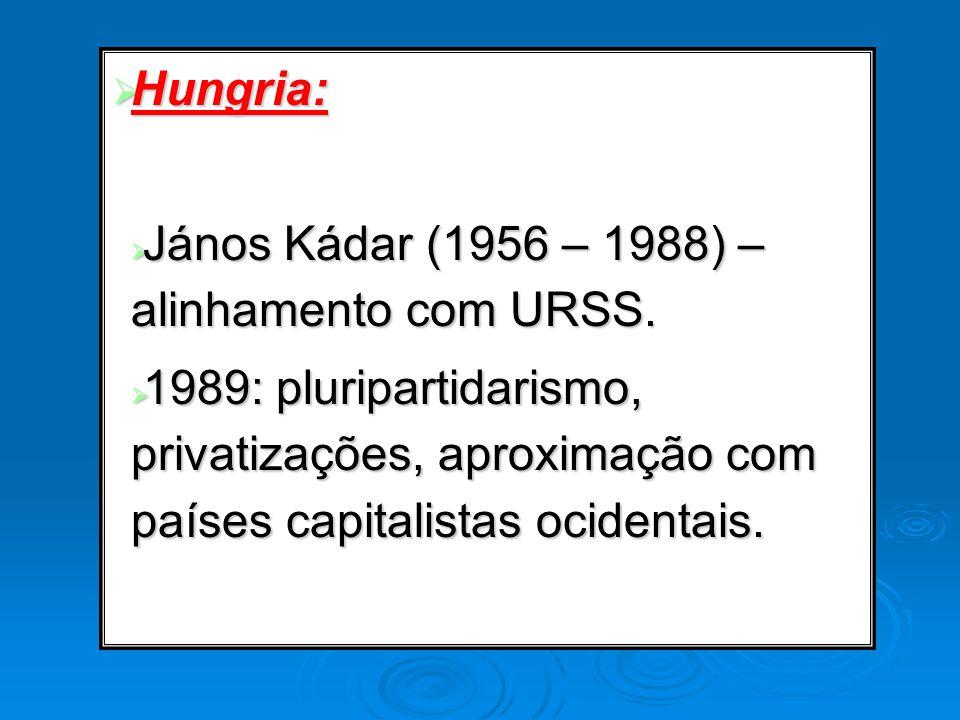 Hungria: Hungria: János Kádar (1956 – 1988) – alinhamento com URSS. János Kádar (1956 – 1988) – alinhamento com URSS. 1989: pluripartidarismo, privati