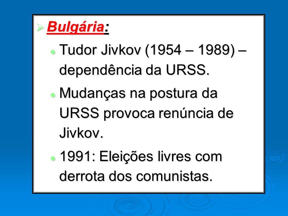 Bulgária: Bulgária: Tudor Jivkov (1954 – 1989) – dependência da URSS. Tudor Jivkov (1954 – 1989) – dependência da URSS. Mudanças na postura da URSS pr
