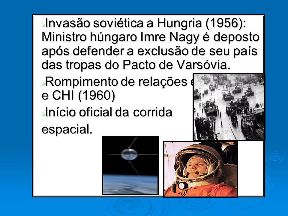 Invasão soviética a Hungria (1956): Ministro húngaro Imre Nagy é deposto após defender a exclusão de seu país das tropas do Pacto de Varsóvia. Invasão
