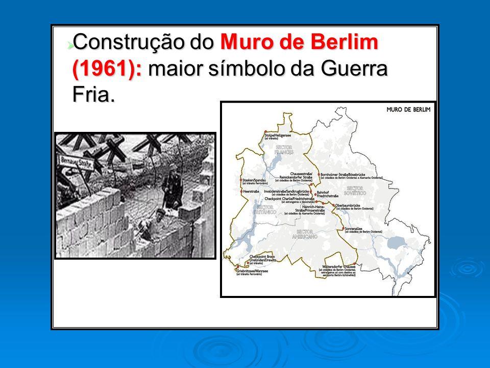 Construção do Muro de Berlim (1961): maior símbolo da Guerra Fria. Construção do Muro de Berlim (1961): maior símbolo da Guerra Fria.
