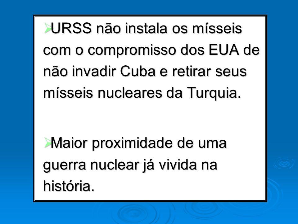 URSS não instala os mísseis com o compromisso dos EUA de não invadir Cuba e retirar seus mísseis nucleares da Turquia. URSS não instala os mísseis com