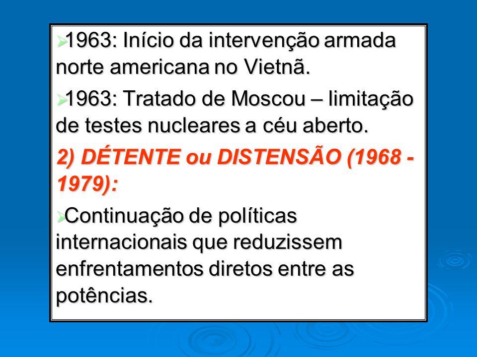 1963: Início da intervenção armada norte americana no Vietnã. 1963: Início da intervenção armada norte americana no Vietnã. 1963: Tratado de Moscou –
