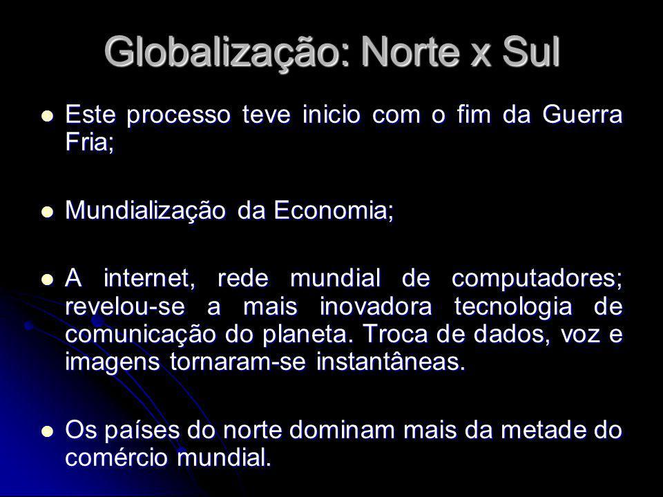 Globalização: Norte x Sul Este processo teve inicio com o fim da Guerra Fria; Este processo teve inicio com o fim da Guerra Fria; Mundialização da Economia; Mundialização da Economia; A internet, rede mundial de computadores; revelou-se a mais inovadora tecnologia de comunicação do planeta.