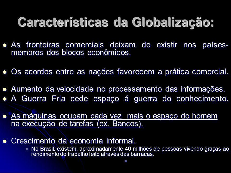 Características da Globalização: As fronteiras comerciais deixam de existir nos países- membros dos blocos econômicos.