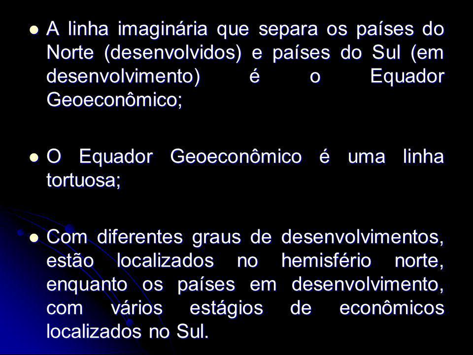 A linha imaginária que separa os países do Norte (desenvolvidos) e países do Sul (em desenvolvimento) é o Equador Geoeconômico; A linha imaginária que separa os países do Norte (desenvolvidos) e países do Sul (em desenvolvimento) é o Equador Geoeconômico; O Equador Geoeconômico é uma linha tortuosa; O Equador Geoeconômico é uma linha tortuosa; Com diferentes graus de desenvolvimentos, estão localizados no hemisfério norte, enquanto os países em desenvolvimento, com vários estágios de econômicos localizados no Sul.