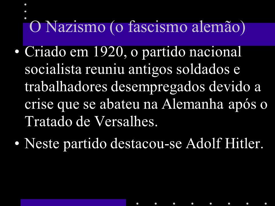 O Nazismo (o fascismo alemão) Criado em 1920, o partido nacional socialista reuniu antigos soldados e trabalhadores desempregados devido a crise que se abateu na Alemanha após o Tratado de Versalhes.