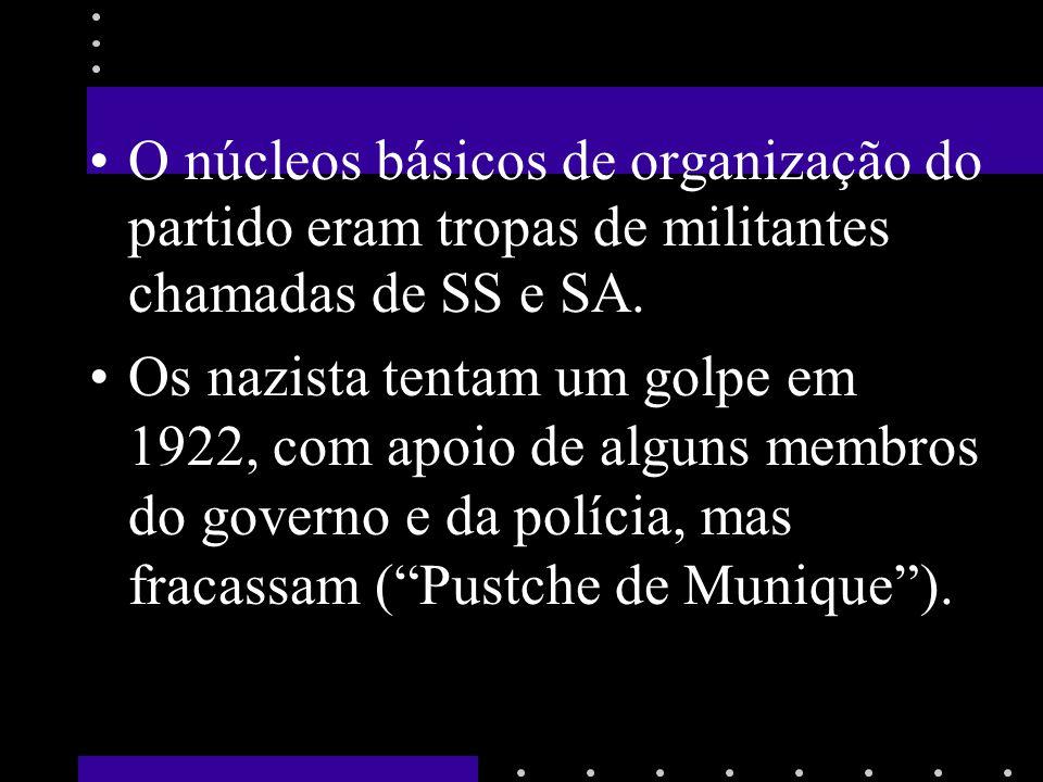 O núcleos básicos de organização do partido eram tropas de militantes chamadas de SS e SA. Os nazista tentam um golpe em 1922, com apoio de alguns mem
