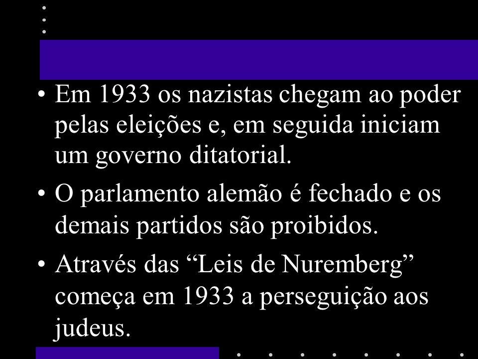 Em 1933 os nazistas chegam ao poder pelas eleições e, em seguida iniciam um governo ditatorial. O parlamento alemão é fechado e os demais partidos são