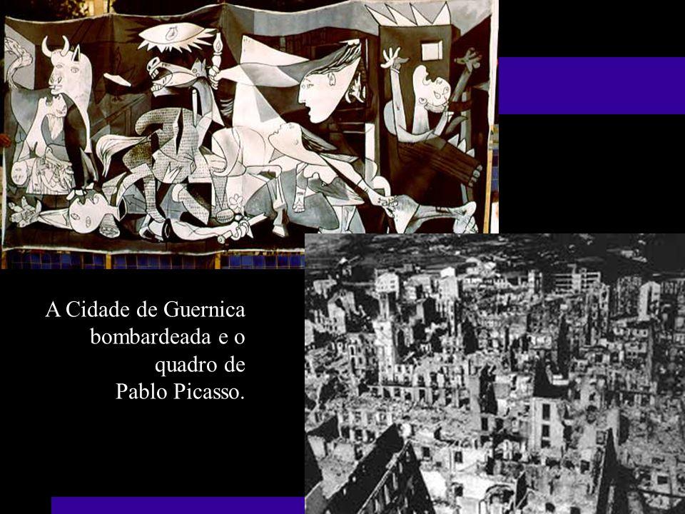 A Cidade de Guernica bombardeada e o quadro de Pablo Picasso.